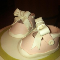 Sweet Baby Shower Cake With Booties And Bow