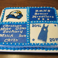 High School Wrestling Cake Cake for a high school wrestlng team senior recognition night.Buttercream frosting with fondant decorations.