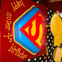 Superman  I made this for my son's 4th superhero birthday party. I printed the superman logo, traced to paper, placed paper on fondant to score...
