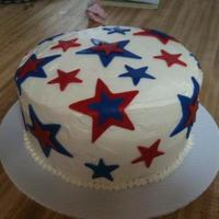 Red, White And Blue Stars  This was my first time working with fondant. I wasn't brave enough to fondant the entire cake, so I went with buttercream as the base...