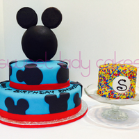 "Mickey Mouse 1St Birthday Cake With Smash Cake   Mickey Mouse 1st Birthday cake with ""smash"" cake"