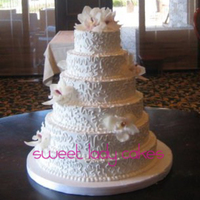 Wedding Cakes   Cornelli Lace with Fresh Orchids