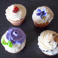 Bugs Bugs Bugs Cupcakes Caterpillar, lady bug, ant hill, and a flower with a bumblebee