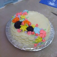 Basket Weave/royal Icing Flowers   Last cake for cake classes