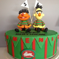 Male 21St Birthday Cake   Mother wanted Ernie & Bert, Son wanted Sydney Rabbitohs combined the two and made them both happy