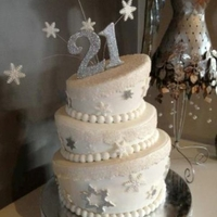 Winter Wonderland 3 Tier topsy turvy white and silver glitter with gumpaste snowflakes