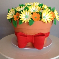 Flower Pot Cake   All Edible Flower Pot Cake for my sister and sister inlaw
