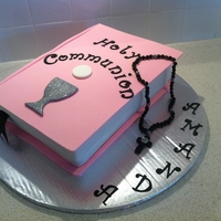Amanda's Holy Communion Cake   Pink Fondant Ist Holy Communion Bible Cake edible rosary stringed