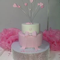 Pretty In Pink   2 Tier choc mud Pink and White fondant gumpaste bow rhineston mesh