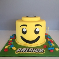 Lego Man Head For Birthday With Edible Blocks   Lego Man Head for Birthday with edible blocks
