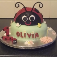 Ladybug My nieces first birthday cake, inspired by the similar cakes here, thank you:)