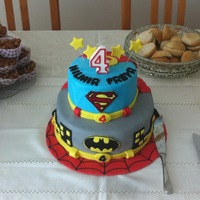 Spiderman, Batman And Superman Made this cake for my son's 4th birthday, Spiderman on the base, then Batman and Superman on top, capes coming down the cake.