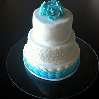 Wedding Cake - Turquise Wedding cake I made - changed the bottow tier to make the cake more elegant but was were happ