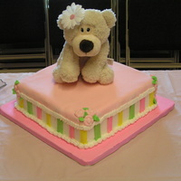 Teddy Bear Baby Shower Cake   Buttercream and fondant cake for a friend that just adopted a baby.