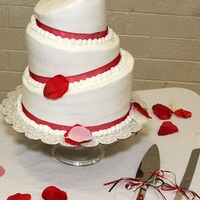Red Velvet Topsy Turvy All buttercream. Done for a friends wedding.