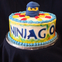 Ninjago Cake Ninjago cake with handmade lego pieces.