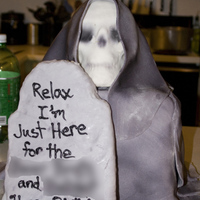 Grim Reaper This is a RV cake with Buttercream and Fondant. Skull is RKT and fondant same for the tombstone. I blured out the writing on purpose before...