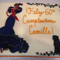 Flamenco Cake Frosted and decorated in buttercream