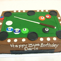 Pool Table Frosted and decorated in buttercream