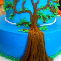 Family Tree, Family Reunion Celebration Cake bottom tier yellow/butter cake, top tier double chocolate, buttercream icing