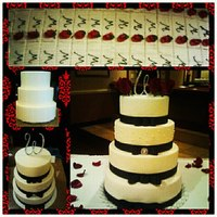 Bling, Bows, And Roses Butter/buttercream cake and sheet cakes, edible pearls