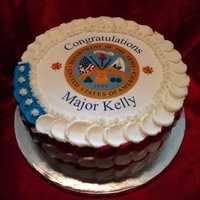 "Military Promotion Army 10 Round Frend Vanilla Cake With Vanilla Buttercream Frostingfilling Military promotion (Army). 10"" round Frend vanilla cake with vanilla buttercream frosting/filling."