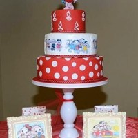 "Polkadots, 12""x9""x6"" cake for babyshower. According to the invitation: polkadots and Brasilian cartoon characters. The girl made of..."
