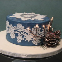 Sweet 16 Birthday Cake Winter Wonderland Theme Sweet 16 Birthday cake decorated with snowflakes and accented with gum paste pine cones, berries and lighted twigs. Chocolate cake filled...