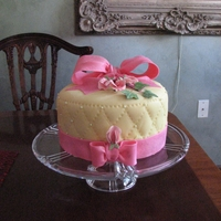 Dorothy's Birthday Cake Key Lime cake with yellow fondant and pink accents