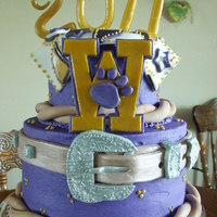 Cowgirls Grad Cake Buttercream frosting with fondant decorations and edible crystals