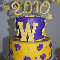 Cheerleader Grad Cake Buttercream frosting with fondant decorations