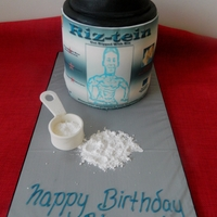 Protein Powder For a fitness fanatic who loves his protein drinks, all choc cake with choc buttercream and an image printed on a frosting sheet, gumpaste...