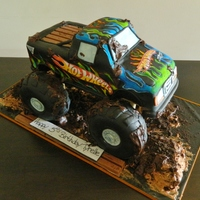 Hot Wheels Monster Truck Hersheys Choc Cake Rkt Tyres Covered In Fondant Edible Paper Flames Cut Out And Adhered Then Coloured Hot wheels monster truck, Hersheys choc cake, rkt tyres covered in fondant, edible paper flames cut out and adhered then coloured :)