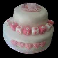 Pink And White Baby Christening Cake