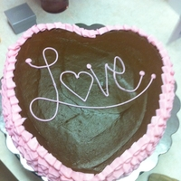 Chocolate Fudge Heart Cake With Choco Fudge And Bc Heart chocolate fudge cake I made for our family on Valentine's day. Chocolate fudge frosting with pink bc