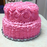 Ruffle And Rosette Cake chocolate fudge and WASC cake staggered. Vanilla BC.