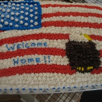 Welcome Home Chocolate cake with buttercream frosting. Eagle was made by transfer method. Inspired by CC cake.