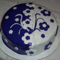 Purple And White Fondant Cake