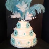 First Wedding Cake - Turquoise Gerbera Daisy