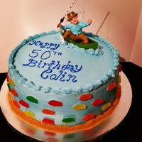 Fishermen Themed 50Th Birthday Cake. Fishermen themed 50th Birthday Cake. Chocolate cake, cherry filling, chocolate buttercream and covered with blue vanilla buttercream and...