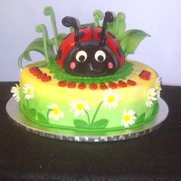 "Ladybug And Daisy Cake Bottom Tier Is A 12 Coconut Cake With Coconut Cream Pie Filling And Coconut Swiss Meringue Buttercream Top Tier T Ladybug and Daisy Cake - Bottom tier is a 12"" Coconut Cake with Coconut cream pie filling and coconut swiss meringue buttercream. Top..."