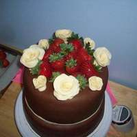 Chocolate Strawberry Cake With White Chocolate Roses