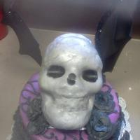 Birthday Cake For A 21 Year Old *This is the top half of the birthday cake I made for my daughter.....She recently got a tattoo that is similar to this life sized skull...