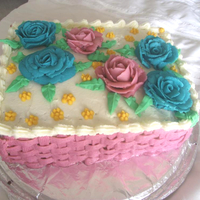Flowers With Basketweave Cake