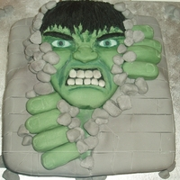 Hulk Breaking Through Rock Wall Cake