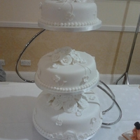 White Rose And Hydrangea 2 Wedding Cake