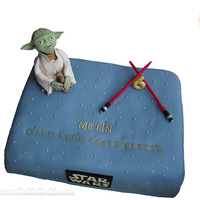 Yoda Cake Yodic Message On The Cake Cake Covered With Gumpaste Yoda And Lightsabers Are Also Made Of Gumpaste Yoda cake: Yodic message on the cake. Cake covered with gumpaste. Yoda and lightsabers are also made of gumpaste.