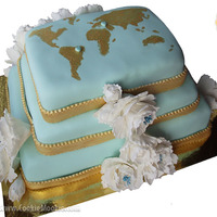 Rectangular Blue-White Cake For An International Wedding. Wedding cake for a Brazillian-Turkish couple.