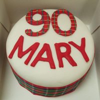 90Th Tartan Cake Birthday cake for the 90th birthday of my BILs grandma (she's Scottish)