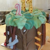 Jungle Cake With Giraffes Elephants And Snakes Jungle cake with giraffes, elephants and snakes